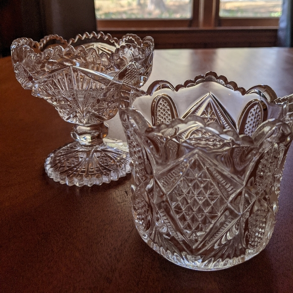 Two pressed glass small dishes.